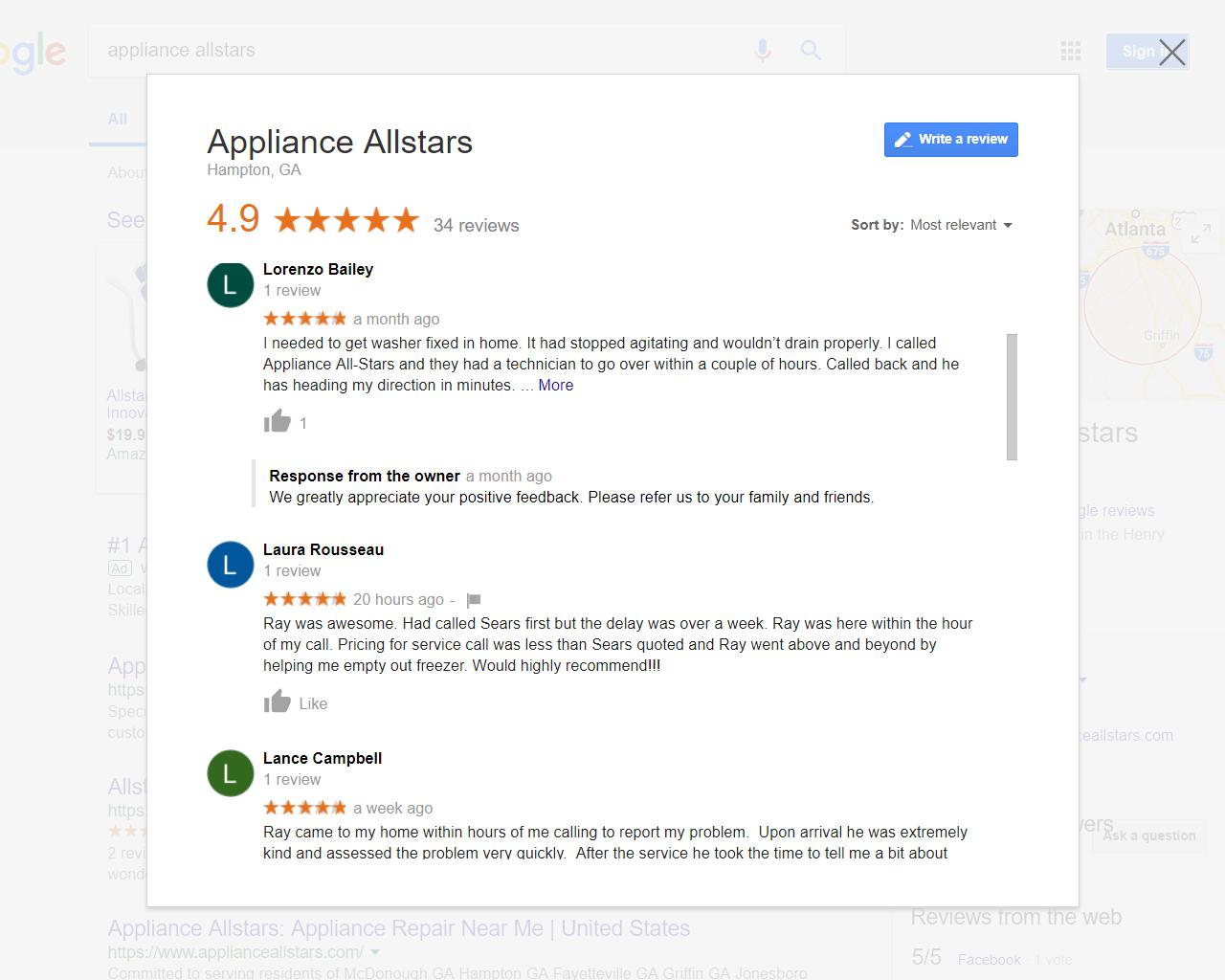 Appliance Allstars Appliance Repair testimonials